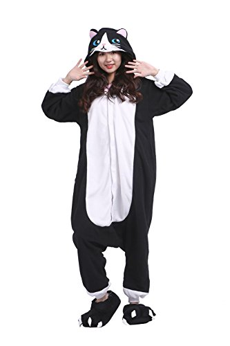 DarkCom Frauen Kigurumi Einteiler-Pyjamas Cartoon Halloween Cosplay Apparel Hoodies Kleine Katze