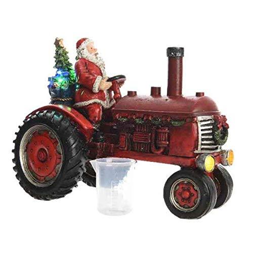 Kaemingk LED-Traktor mit Weihnachtsmann, Schwarz/Rot