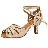 SheSole Women Latin Ballroom Dancing Shoes Rhinestone Low Heel Party Sandals Nude