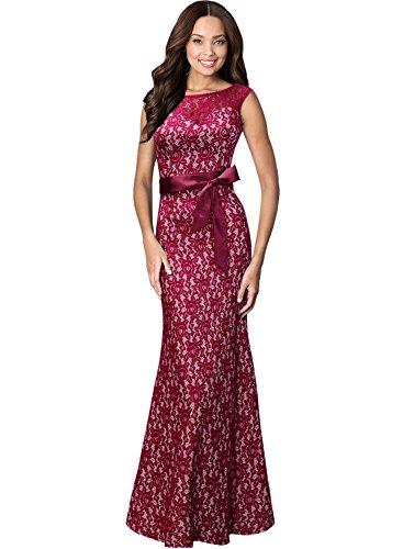 Miusol Damen Kleid aus Spitzen Rundhals Rueckenfrei Brautjungfer Cocktailkleid Fishtail Langes Abendkleid Lila-rot Groesse 3XL - 3