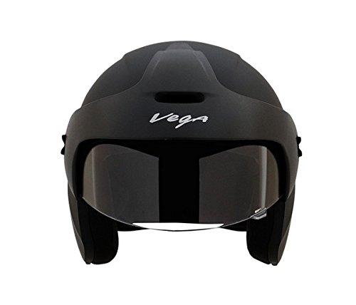 Vega Buds Half Face Helmet (Dull Black, L)
