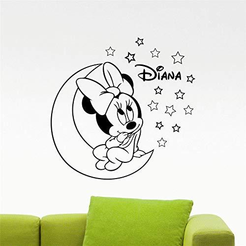 ljradj Personalisierte Namen Minnie Baby Wandtattoos Schwarze Aufkleber benutzerdefinierte Poster Wandaufkleber Kinderzimmer niedlichen Cartoon 45 x 44 cm