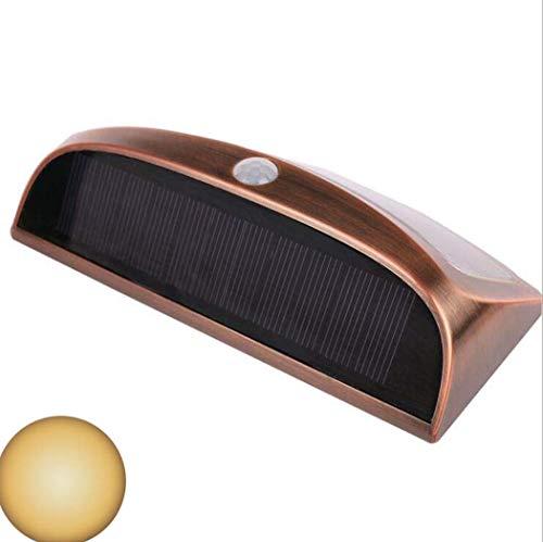 GJX 2019 Luces solares, Lámpara de Pared con Sensor de Movimiento infrarrojo Solar inalámbrico de 8 LED, Luces de Seguridad Impermeables al Aire Libre para jardín, Garaje, escaleras,warmlight,A