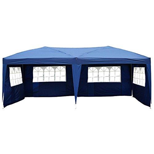 Carpa Pabellón de Jardín Tipo Gazebo para Exterior Camping Fiesta y Boda con 4 Paredes y Ventanas - Color Azul...