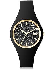 ICE-Watch - 001633 - Glitter - Montre Femme - Quartz Analogique - Cadran Noir - Bracelet Silicone Noir