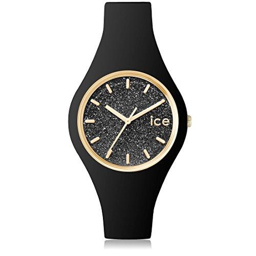 Ice-Watch - ICE glitter Black - Montre argent pour femme avec bracelet en cuir - 001349 (Small)