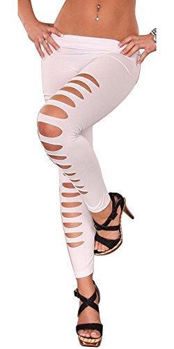 BOZEVON Donna fori Skinny Elastico Sottili Pantaloni Matita Casuali Leggings Moda Eleganti Pantaloni Stretti Strappati Bianco