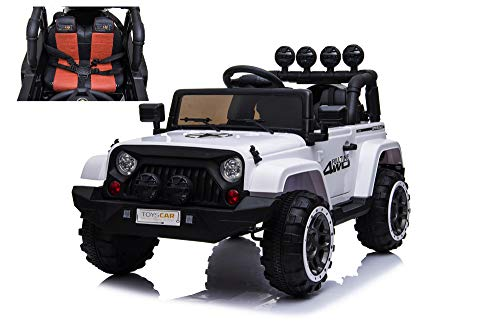 TOYSCAR electronic way to drive Auto Macchina Elettrica per Bambini Jeep Bianca 12V MP3 LED con Telecomando Full Optional Sedili in Pelle