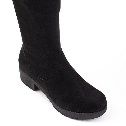 Ideal Shoes–Stivali da letto effetto camoscio con suola crantrée Zaina Nero
