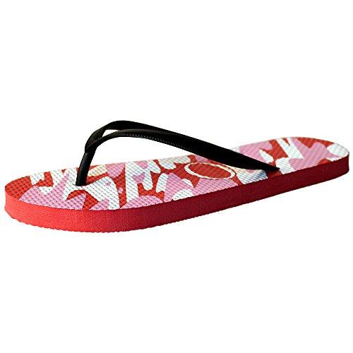 Eastlion Frauen und Mädchen Mode Druck Sommer Hausschuhe Flip Flops Strings Strand Hausschuhe Schuhe Rot