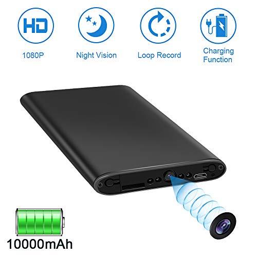 Caméra Espion Power Bank LXMIMI 1080P Caméra Cachée Portable avec Vision Nocturne Automatique/ 25 Heures de Vie de la Batterie/ Prise de Photo/ Enregistrement en Boucle pour Domicile et Extérieu