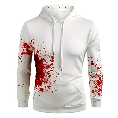 Xmiral Sweatshirt Kapuzenpullover Herren 3D Blut Drucken Pullover mit Kapuze Lange Ärmel Tops Sportbekleidung Halloween - Russisch Kostüm Muster