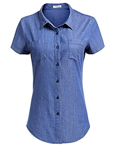 HOTOUCH Womens Boyfriend Button Down Denim Shirt with Pockets (Light