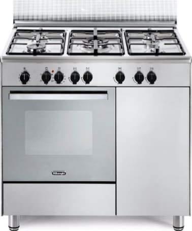 Cucina a Gas 5 Fuochi Forno elettrico Multifunzione con Grill 90x60 cm