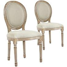 Menzzo Medaillon Louis XVI Lot De 2 Chaises Tissu Beige 49 X 46
