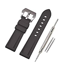 Vinband Watch Strap Replacement Rubber Watch Band - 20mm, 22mm, 24mm, 26mm Silicon Watch Bracelet with Brushed Stainless Steel Pre-V Buckle for Panerai (26mm, Black)