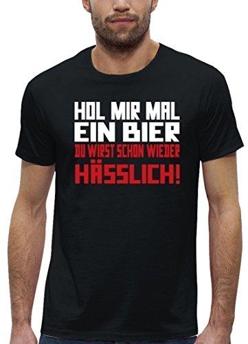 Lustiges Premium Herren T-Shirt aus Bio Baumwolle Hol mir mal ein Bier Stanley Stella Black