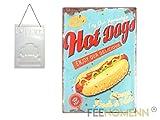FEENOMENN Plaque Métal Déco Vintage - Effet Relief - Hot Dogs (30x40cm)