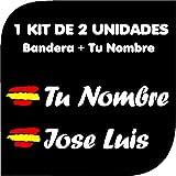 Pegatina Vinilo Bandera España + tu Nombre - Bici, Casco, Pala De Padel, Monopatín, Coche, Moto, etc. Kit de Dos Vinilos (Bla