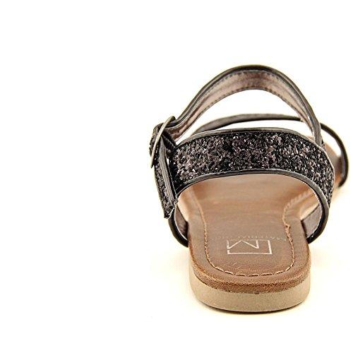 Material Girl Kim Offener Spitze Synthetik Slingback Sandale Black Glitter