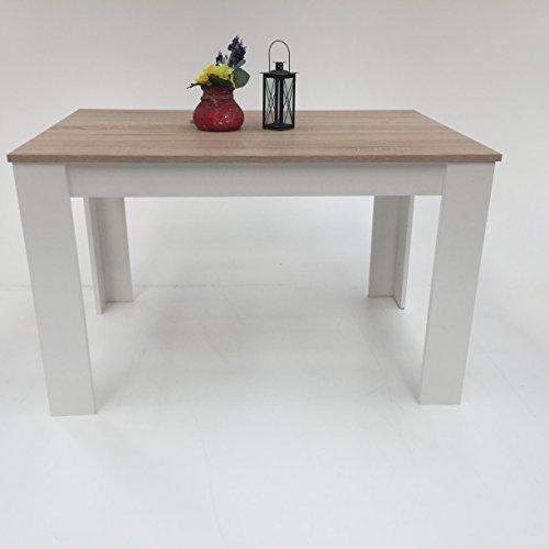 Preisvergleich Produktbild Möbel SD Esstisch Sonoma / Weiß 120x80