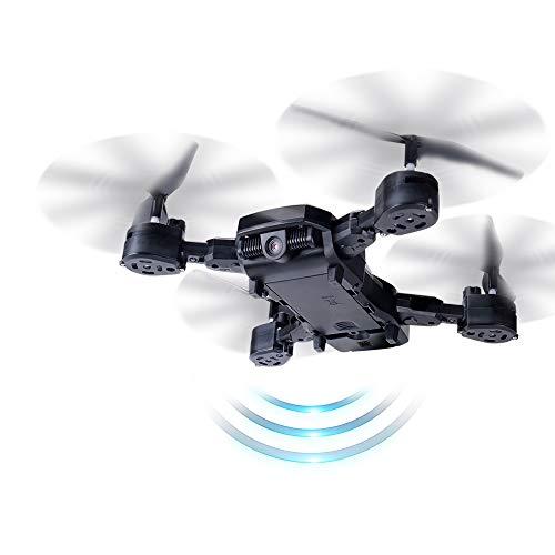 Hoody Drohne RC Quadrocopter, Drone mit Kamera WiFi FPV Quadrocopter RC Toy Helikopter 2.4 G 6-Achsen Kopflos-Modus Höhe-Halten 3D-Flips für Kinder und Anfänger (Schwarz)