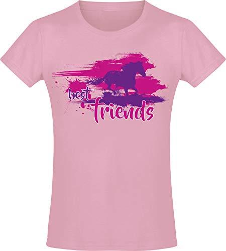 Best Friends - Mädchen Pferde T-Shirt - Beste Freunde - Geburtstag-s Shirt Pferd - Kinder - Geschenk-Idee - Freundin - Reiten Pony - Horse-Girl - Pink Rosa - Niedlich - BFF - Schule (116) - Rosa Liebe Herz T-shirt