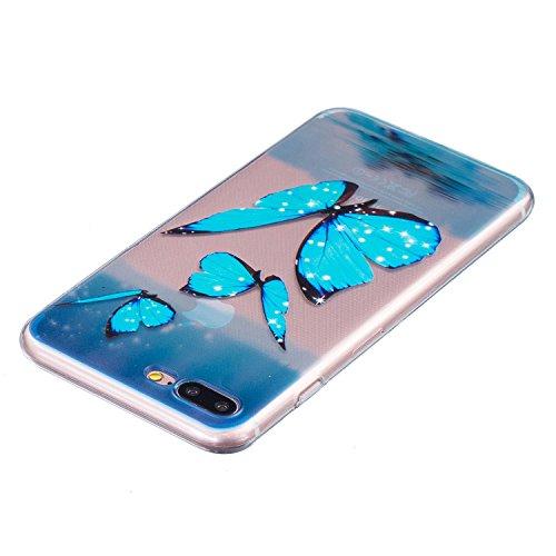 Coque iPhone 7 Plus, Étui iPhone 7 Plus, iPhone 7 Plus Case, ikasus® Coque iPhone 7 Plus Housse En relief Couleur peinte Transparent TPU Silicone Étui Housse Téléphone Couverture TPU Ultra Mince Premi Papillon bleu