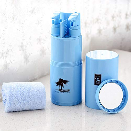 erhuo Outdoor-Multifunktionswaschschale Set Portable Zahnpasta Zahnbürste Box tragbare Laden Reise Hotel liefert, blau