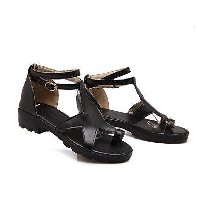 LvYuan Da donna-Sandali-Formale Casual-Club Shoes Comoda Alla schiava-Basso-Finta pelle-Nero Giallo Bianco White