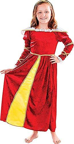 Kinder Mittelalterlich Verkleidung Kostümparty Dickensian Outfit Tudor Mädchen Mit Kopfstück - Multi, 128cm