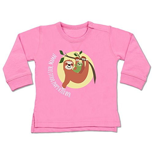 Shirtracer Muttertag Baby - Muttertag Hab Dich ganz doll lieb Mama - 18-24 Monate - Pink - BZ31 - Baby Pullover