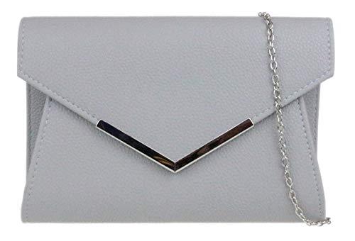 Girly HandBags Metallisch-Rahmen Clutch Bag - GrauGrau