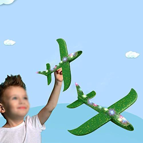 chivalrylist 48cm Segelflugzeug, Kinder Styroporflieger Flugzeug Spielzeug Outdoor-Sportarten Spielzeug, Manuelles Wurfspiel, Spaß, Herausforderung, Modell Schaum Flugzeug - blau rot orange grün