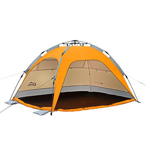 Qeedo - Quick Palm Strandmuschel mit UV-Schutz (UV80 nach UV-Standard 801) - kleines Packmaß - schnell aufzubauender Sonnenschutz - orange (12 X 10 Zelt)