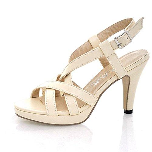 Minetom Damen Sexy High Heel Gladiator Sandale Riemchen öffnen Zehe Sommer Party Plattform Pumpen Schuhe Beige EU 38 Stiletto Heel Ankle Tie