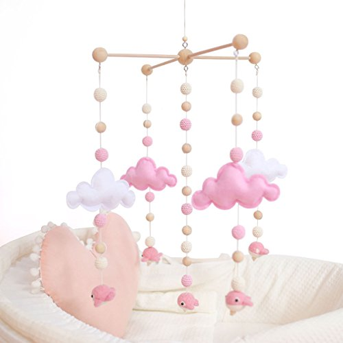 baby tete Babybett Mobiles für Mädchen Kreatives Hängendes Spielzeug Bett Glocke Rassel Spielzeug Weiße und Rosa Filzbälle Hölzernes Windspiel Zelt