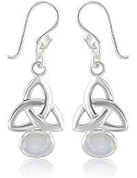 DTPSilver - 925 Sterling Silver and Moonstone Celtic Knot Earrings - Post and Butterfly backs e2tZGQ