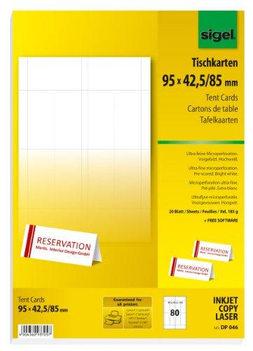 Sigel DP046 bedruckbare Tischkarten weiß, 9,5 x 4,2 cm (auf A4), 80 Stück - weitere Größen (Tischkarten Avery)
