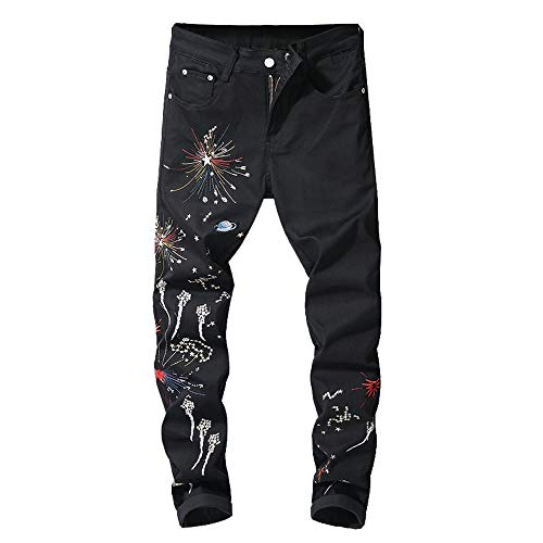 Dorical Herren Weihnachten gedruckt Baumwolle gerade Distressed Denim Hose Jeans Feuerwerk Digital Hose Jeans Slim Fit Jeans Hose Denim Stretch Regular Fit Jeanshose Stonewashed(Schwarz A,36)
