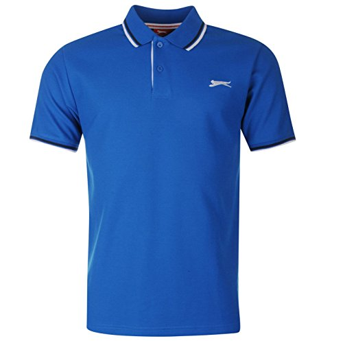 Slazenger Tipped Herren Polo Poloshirt T Shirt Kurzarm Classic Fit Tee Top L (Climacool-rugby)
