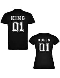 Amazon.es  camiseta parejas king and queen - Camisetas   Camisetas y ... d6a4d6e302f61