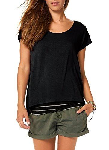 Jusfitsu Damen Sommer Kurzarm T-Shirt Rundhals mit Gestreiftes Oberteil Tops Bluse Shirt in 2-in-1 Optik Schwarz L (Baumwolle Shorts Gestreift)