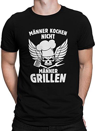 vanVerden Unisex T-Shirt XS-5XL Männer kochen nicht, sie grillen! Schwarz