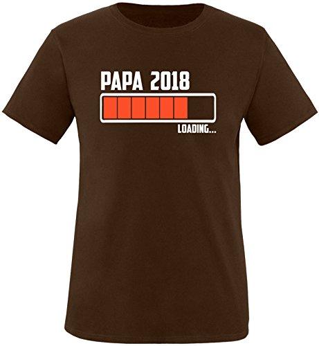 EZYshirt® Papa 2018 Herren Rundhals T-Shirt Braun/Weiss/Orange