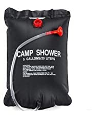 LUMONY 20L Outdoor Portable Water Bath Bag for Travel Camping Shower Bag Black (40cm x 60cm)