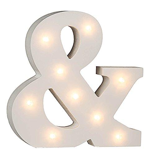 Beleuchtete Holz-Buchstaben, Ziffern und Zeichen von A-Z und 0-1 mit LED-Beleuchtung (&)