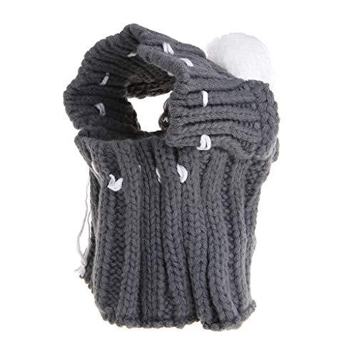 qingqingR Mode Winter Warme Haustier Leck Ohr Wolle Warme Mütze Gestrickte Elastische Haar Ball Hut Dekoration Kleidung Grau 1 Stück