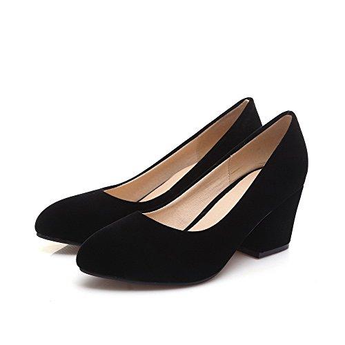 Voguezone009 Femmes Pull Toe Shoes Talon Moyen Noir Ballerines Pure