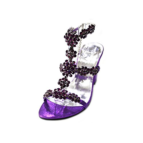W & W femmes Mesdames Soirée Fashion Sandale Original Swarovski Stone Bloc Talon Soirée Party Mariage Mariée chaussures taille 4-10(wingl) Violet